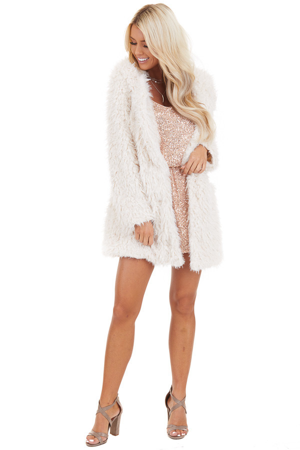 Cream Faux Fur Hooded Long Sleeve Jacket with Pockets front full body