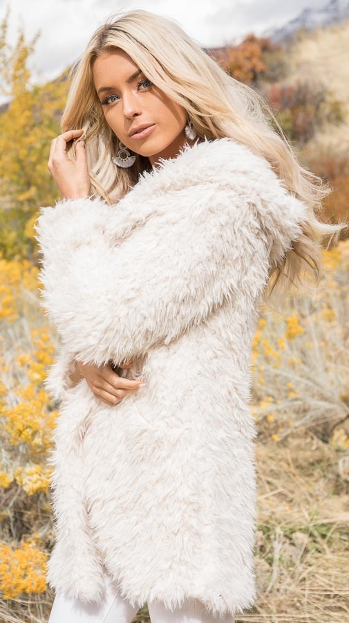 Cream Faux Fur Hooded Long Sleeve Jacket with Pockets