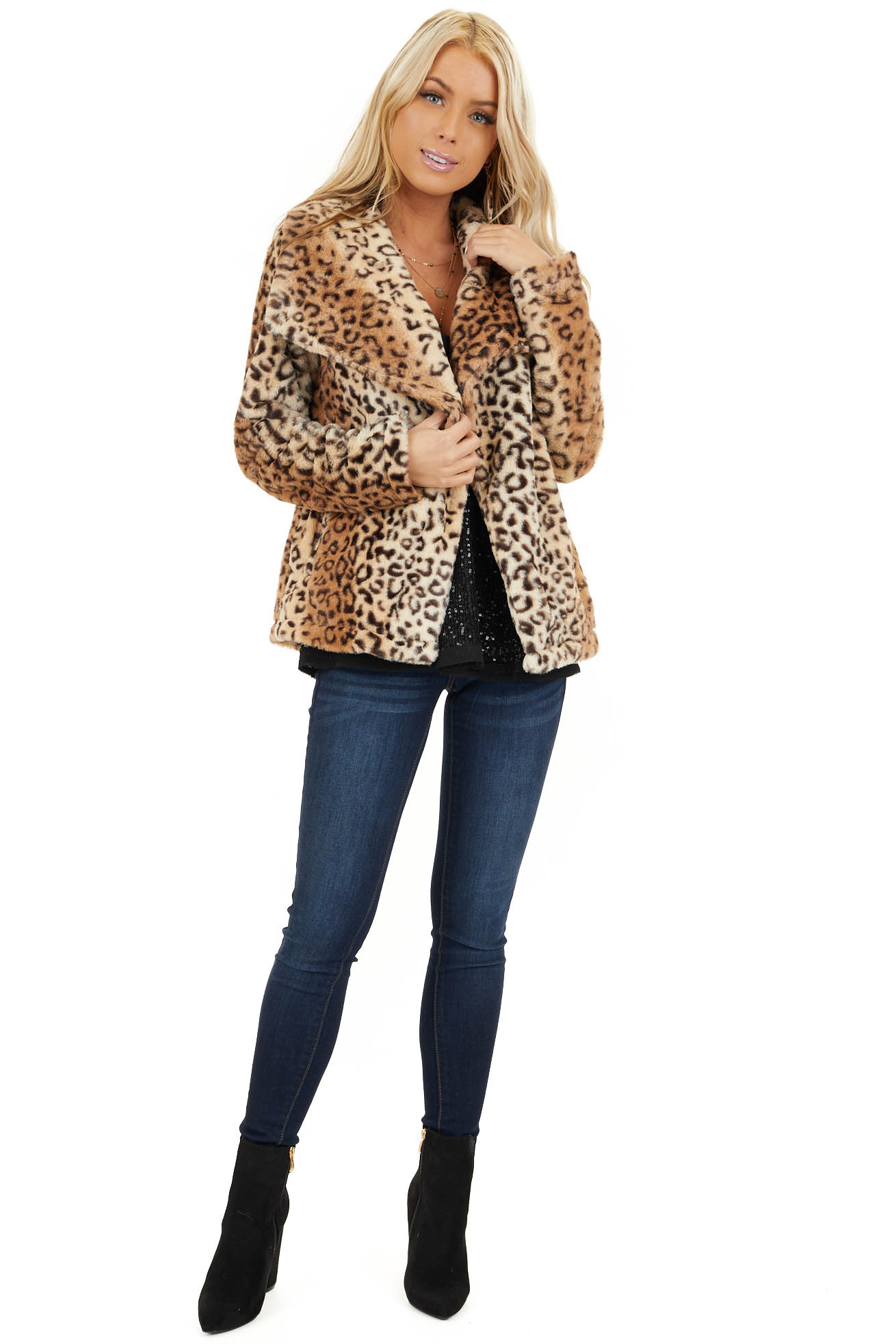 Cream Leopard Print Faux Fur Super Soft Collared Jacket front full body