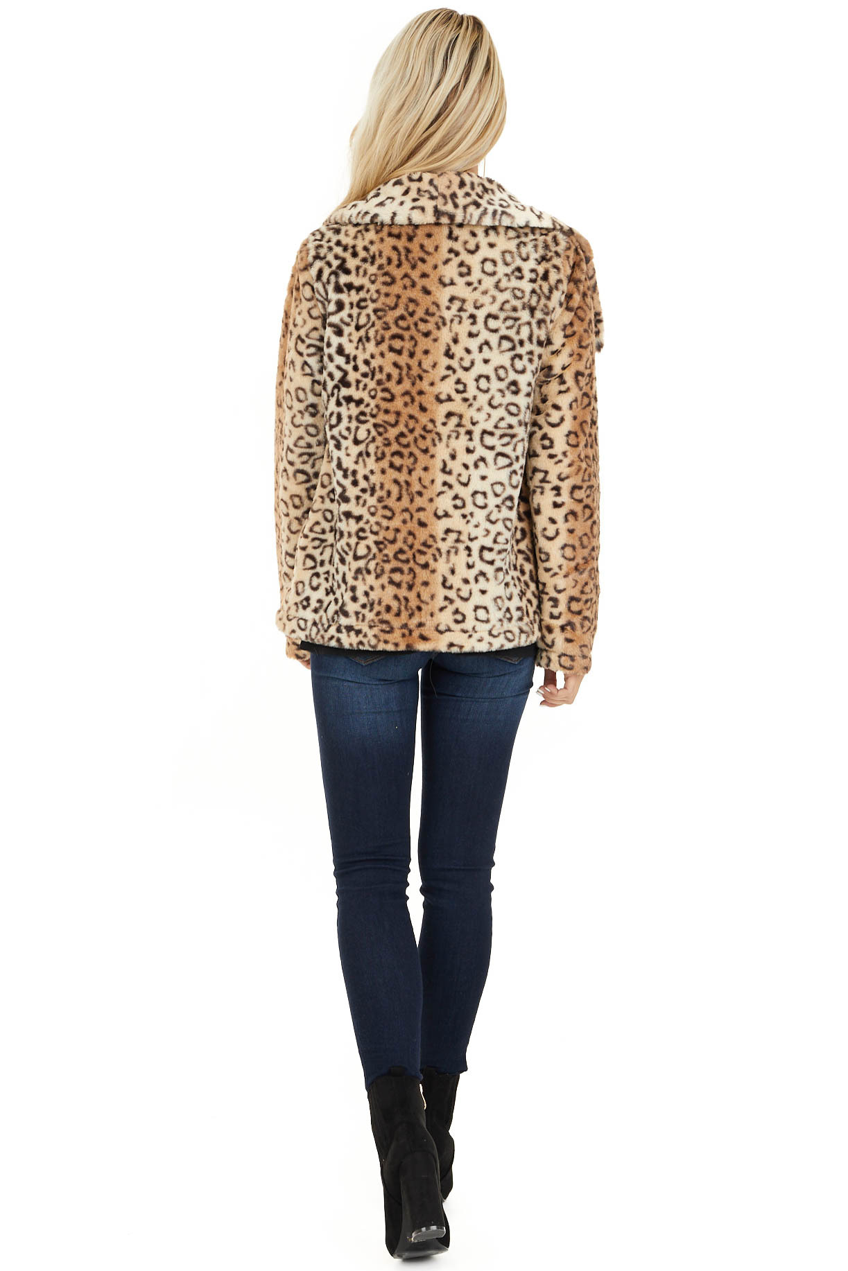 Cream Leopard Print Faux Fur Super Soft Collared Jacket back full body