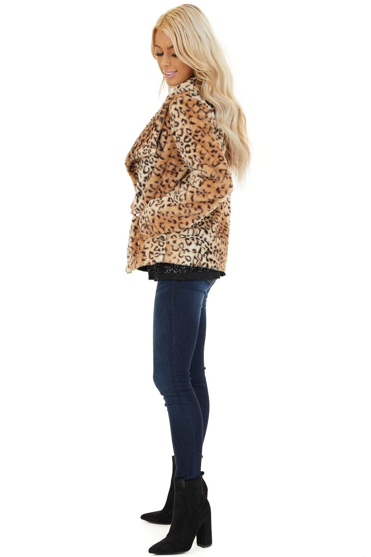 Cream Leopard Print Faux Fur Super Soft Collared Jacket side full body
