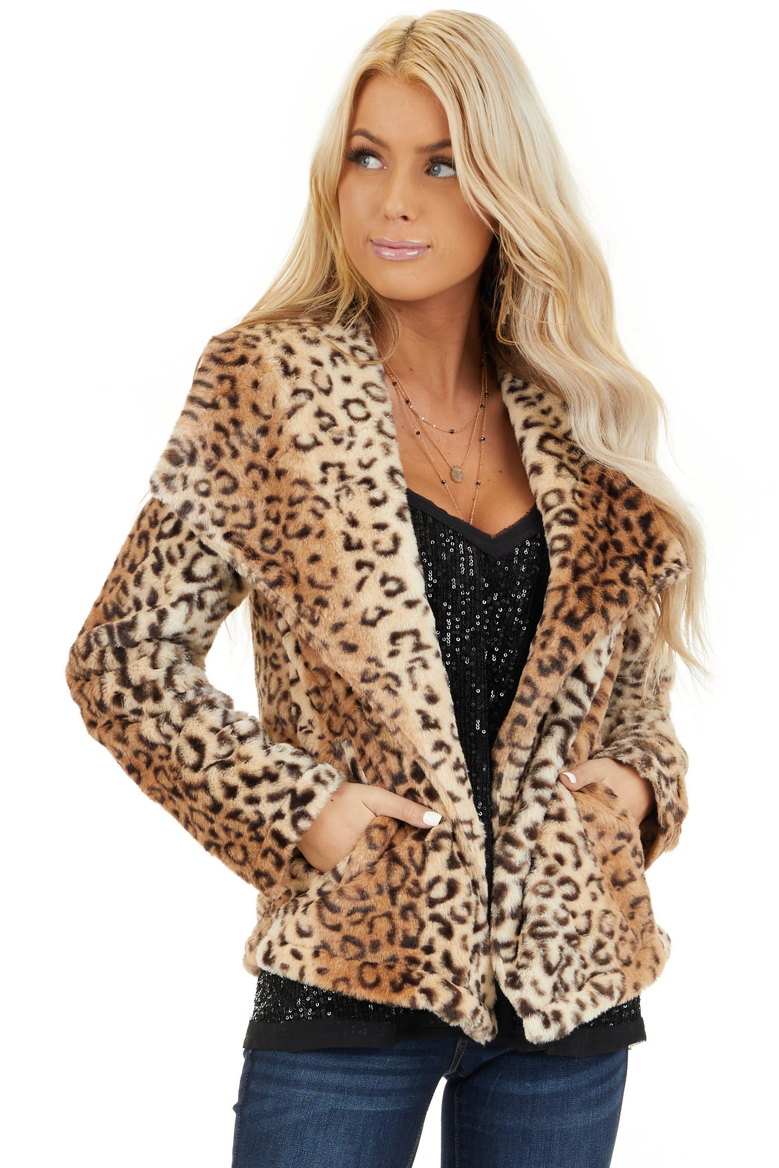 Cream Leopard Print Faux Fur Super Soft Collared Jacket front close up
