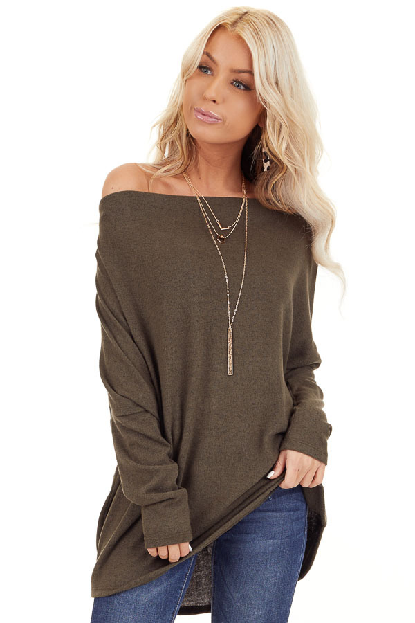 Olive Green Off the Shoulder Long Dolman Sleeve Knit Top front close up