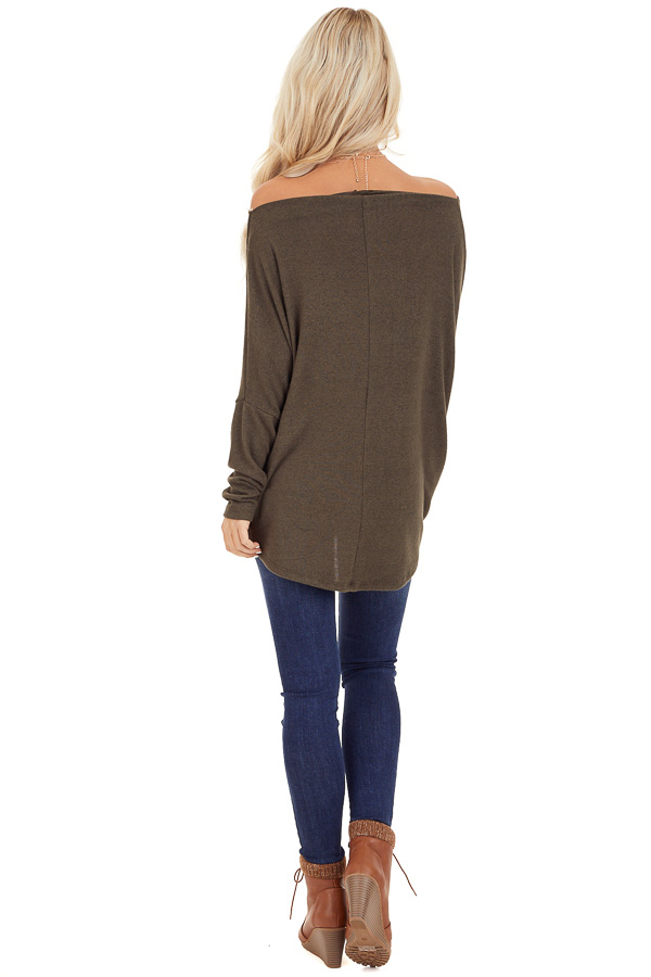 Olive Green Off the Shoulder Long Dolman Sleeve Knit Top back full body