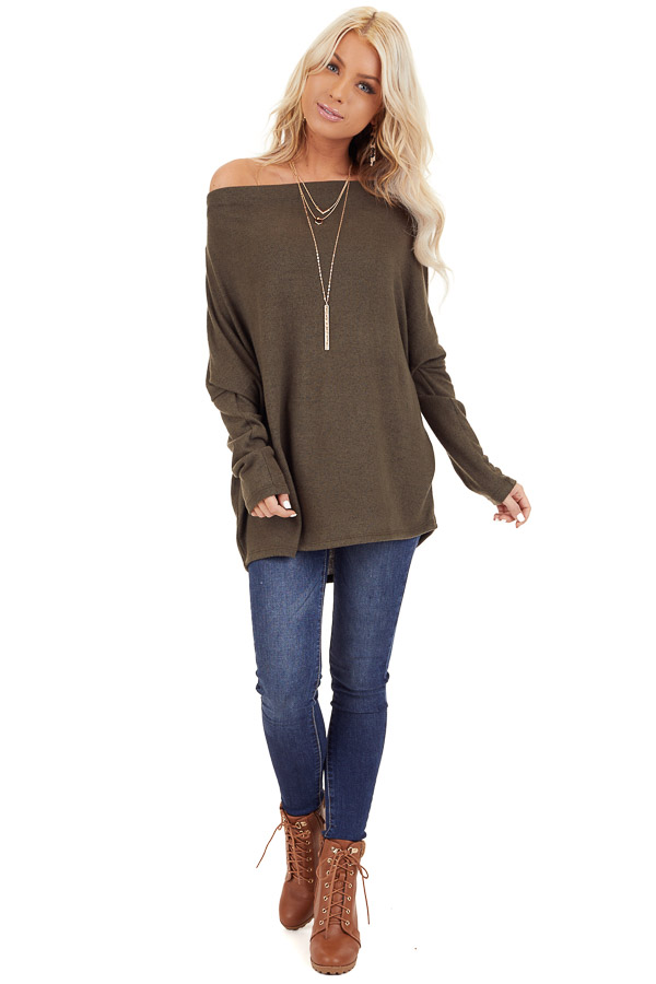 Olive Green Off the Shoulder Long Dolman Sleeve Knit Top front full body