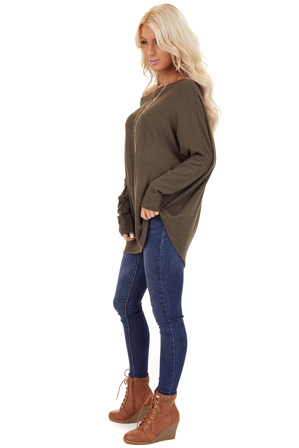 Olive Green Off the Shoulder Long Dolman Sleeve Knit Top side full body
