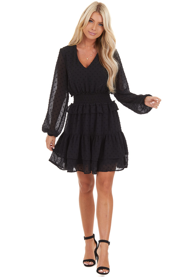 Black Sheer Long Sleeve Mini Dress with Swiss Dot Details front full body