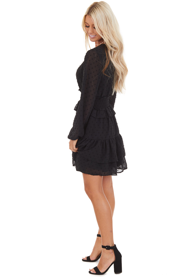Black Sheer Long Sleeve Mini Dress with Swiss Dot Details side full body