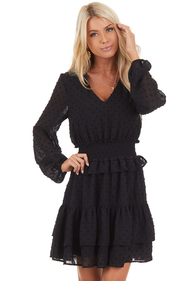 Black Sheer Long Sleeve Mini Dress with Swiss Dot Details front close up