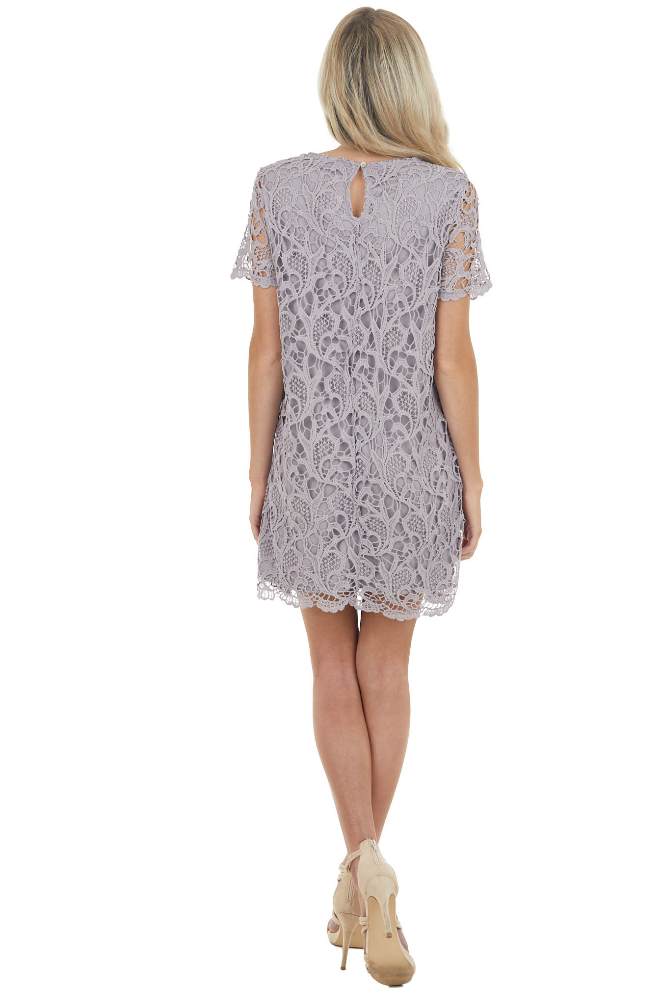 Vintage Lilac Crochet Lace Mini Dress with Short Sleeves