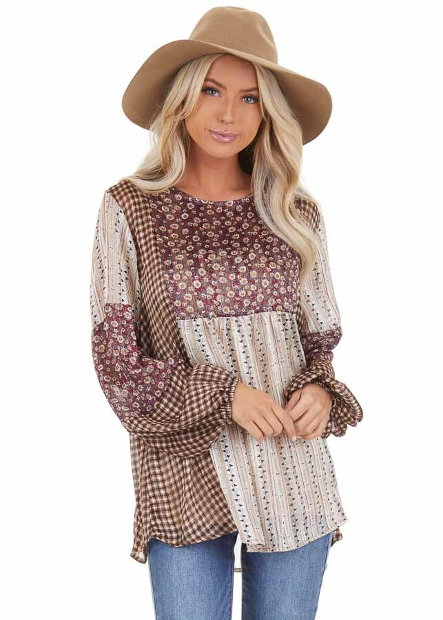 Burgundy and Cream Patchwork Multi Print Long Sleeve Top front close up