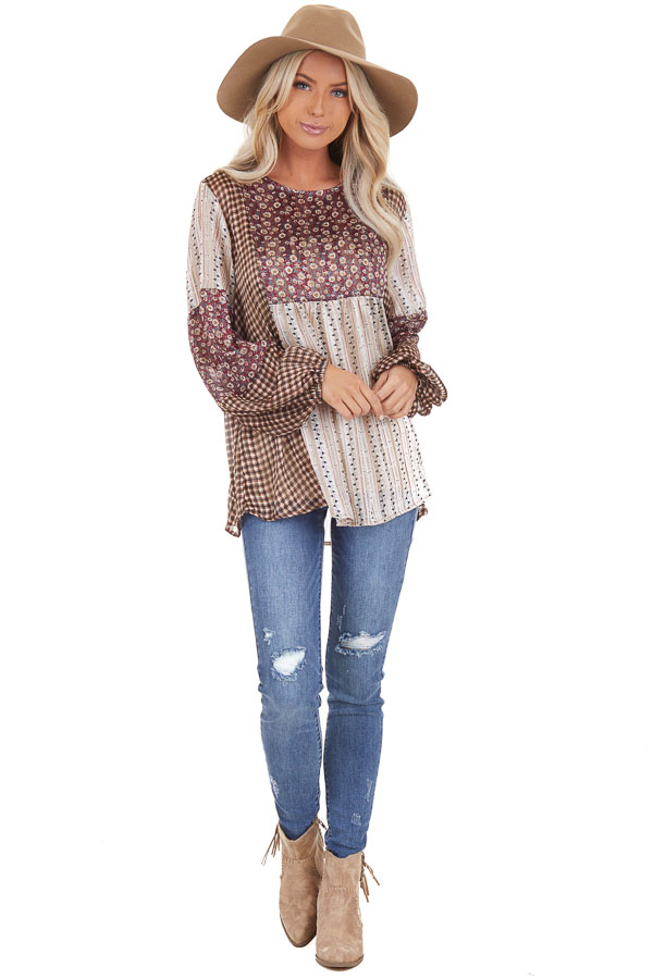 Burgundy and Cream Patchwork Multi Print Long Sleeve Top front full body
