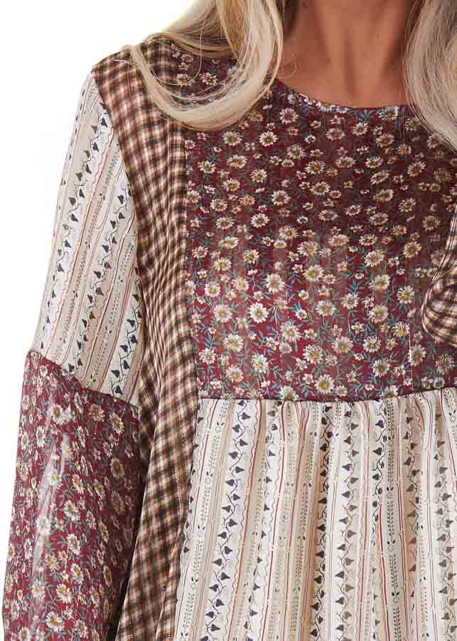 Burgundy and Cream Patchwork Multi Print Long Sleeve Top detail