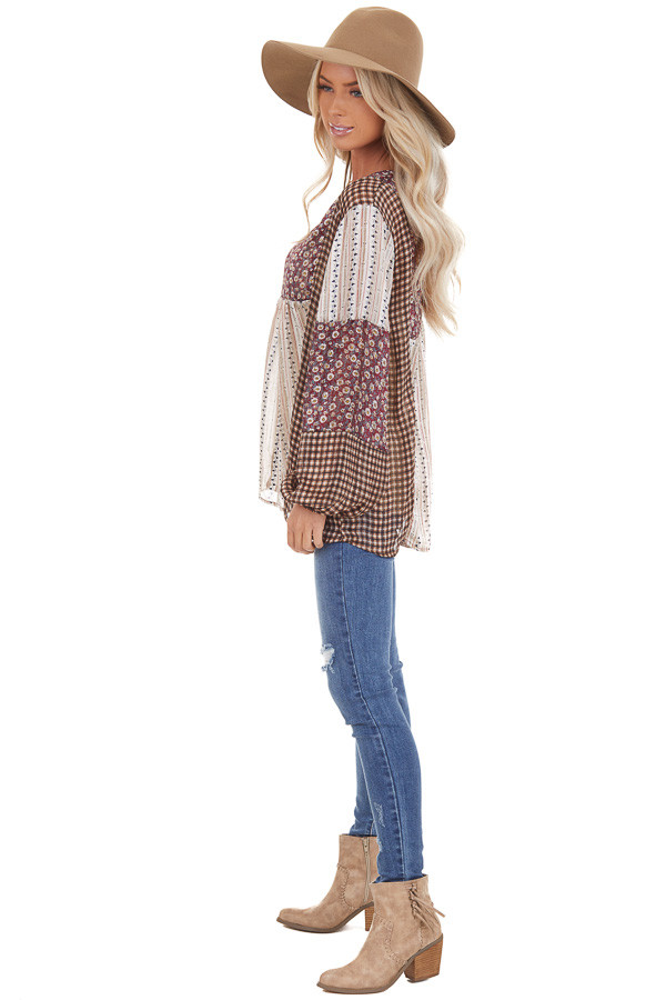 Burgundy and Cream Patchwork Multi Print Long Sleeve Top side full body