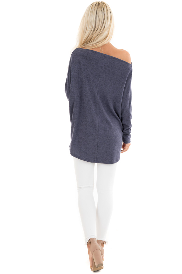 Dusty Blue Off the Shoulder Knit Top with Dolman Sleeves back full body