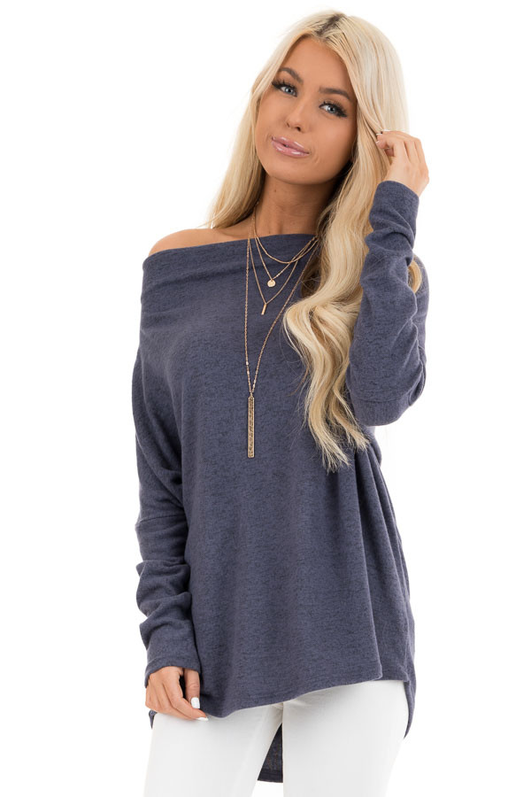 Dusty Blue Off the Shoulder Knit Top with Dolman Sleeves front close up