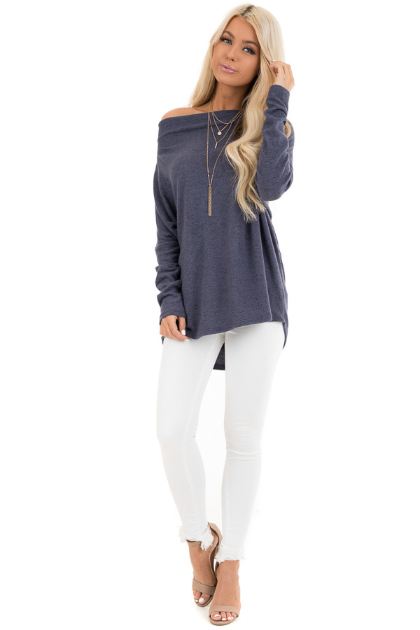 Dusty Blue Off the Shoulder Knit Top with Dolman Sleeves front full body