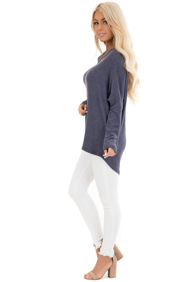 Dusty Blue Off the Shoulder Knit Top with Dolman Sleeves side full body