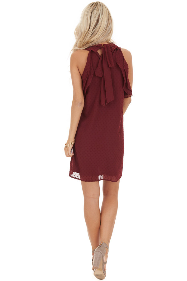 Burgundy High Neck Sleeveless Mini Dress with Ruffle Details back full body