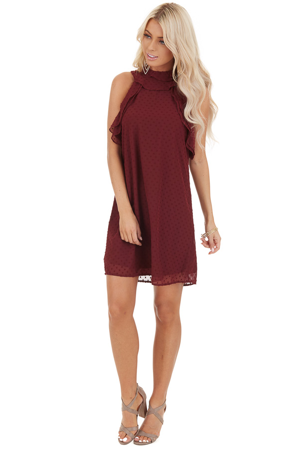 Burgundy High Neck Sleeveless Mini Dress with Ruffle Details front full body