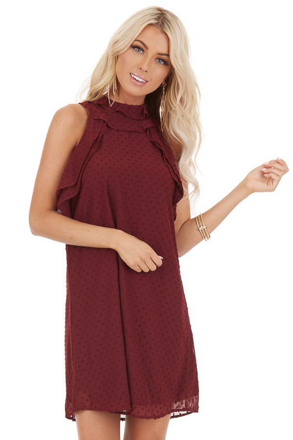 Burgundy High Neck Sleeveless Mini Dress with Ruffle Details front close up