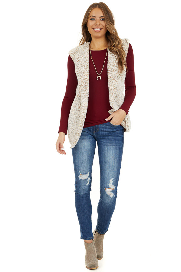 Beige Two Tone Sherpa Vest with Hood and Pockets front full body