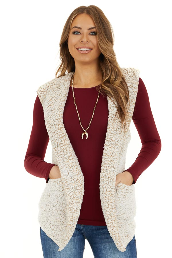 Beige Two Tone Sherpa Vest with Hood and Pockets front close up