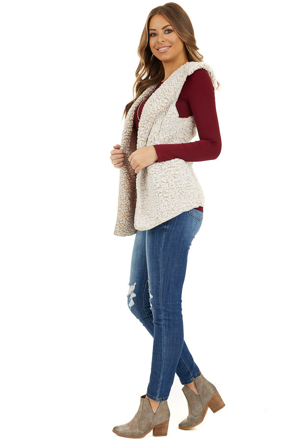Beige Two Tone Sherpa Vest with Hood and Pockets side full body