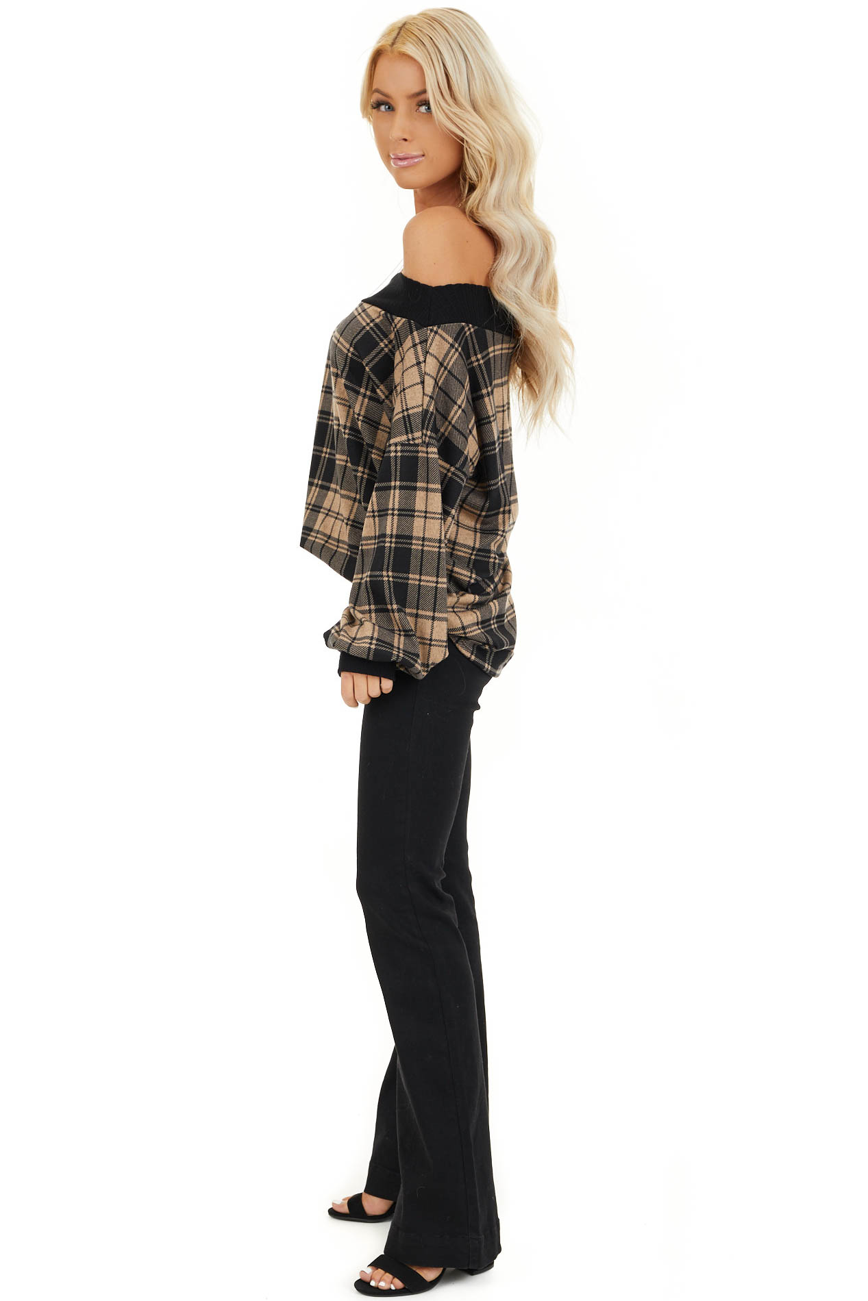 Oatmeal Plaid Off Shoulder Long Sleeve Top side full body