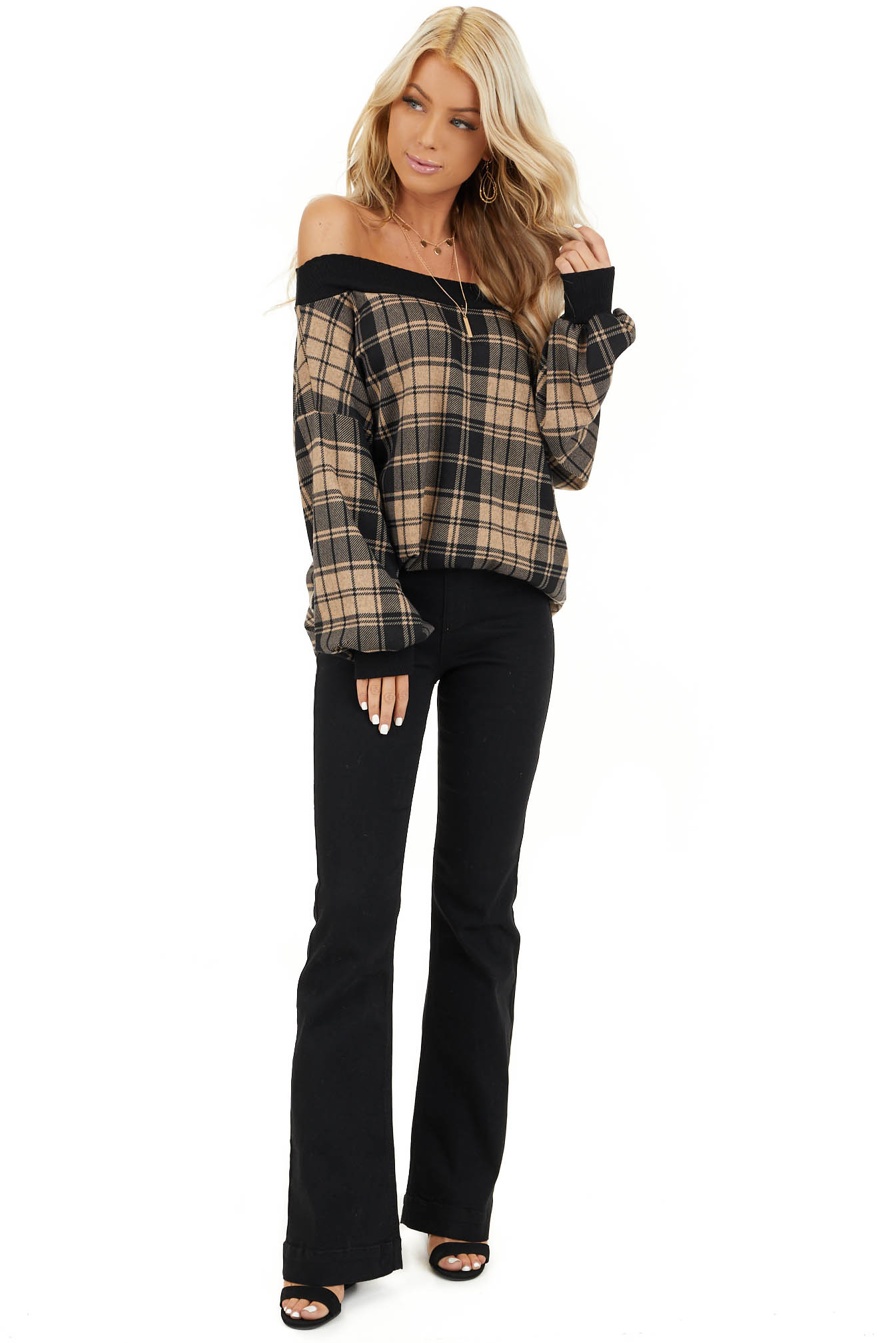 Oatmeal Plaid Off Shoulder Long Sleeve Top front full body