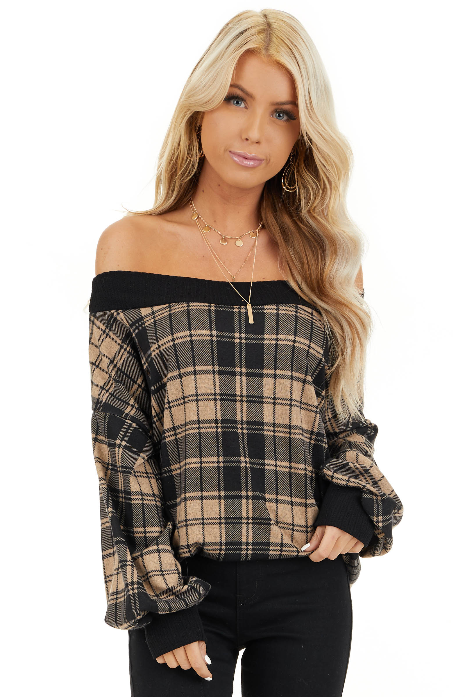 Oatmeal Plaid Off Shoulder Long Sleeve Top front close up