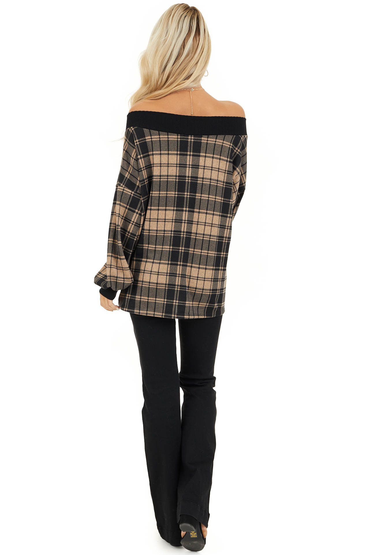 Oatmeal Plaid Off Shoulder Long Sleeve Top back full body