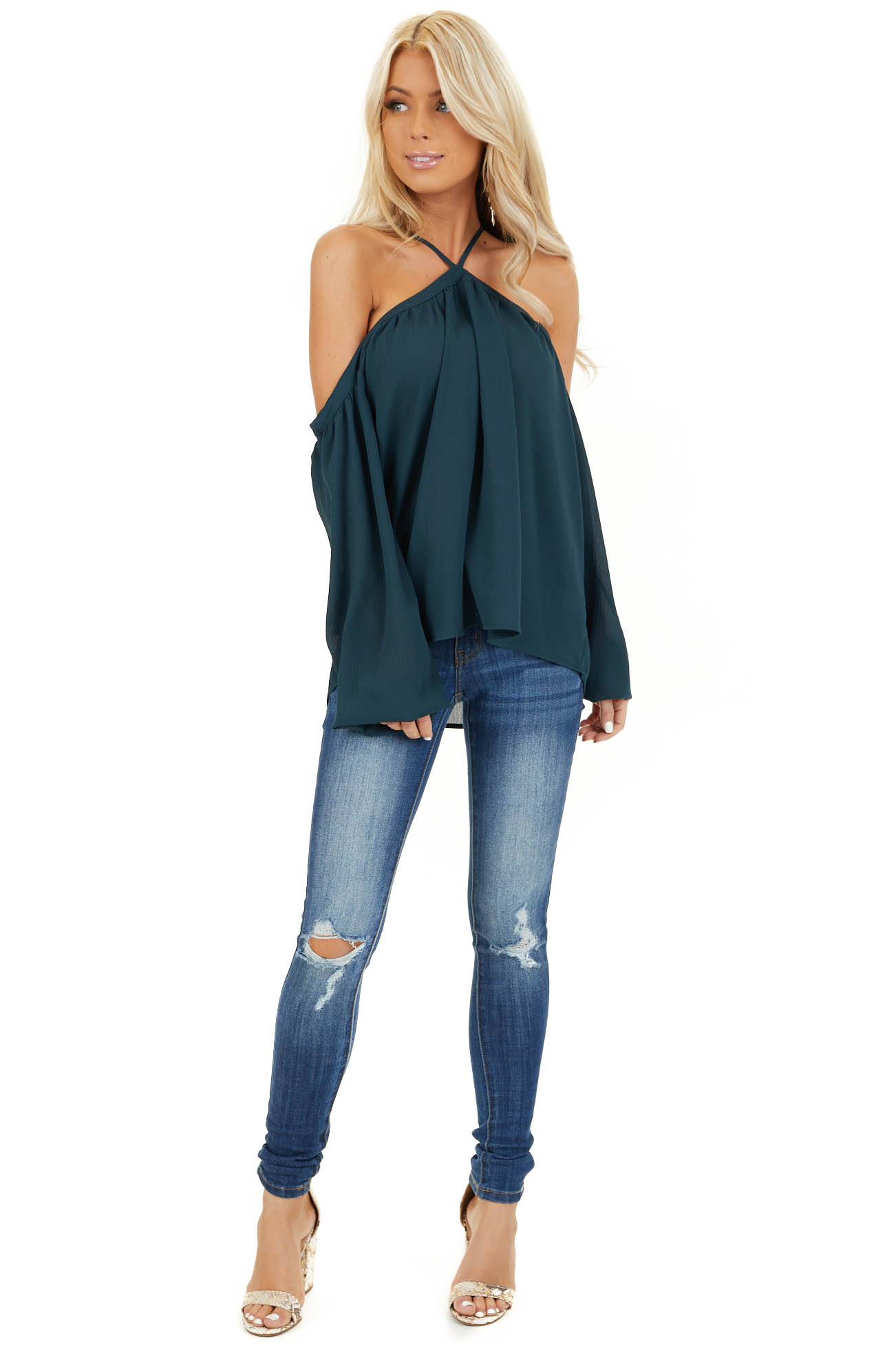 Deep Teal Cold Shoulder Top with Halter Strap Detail front full body