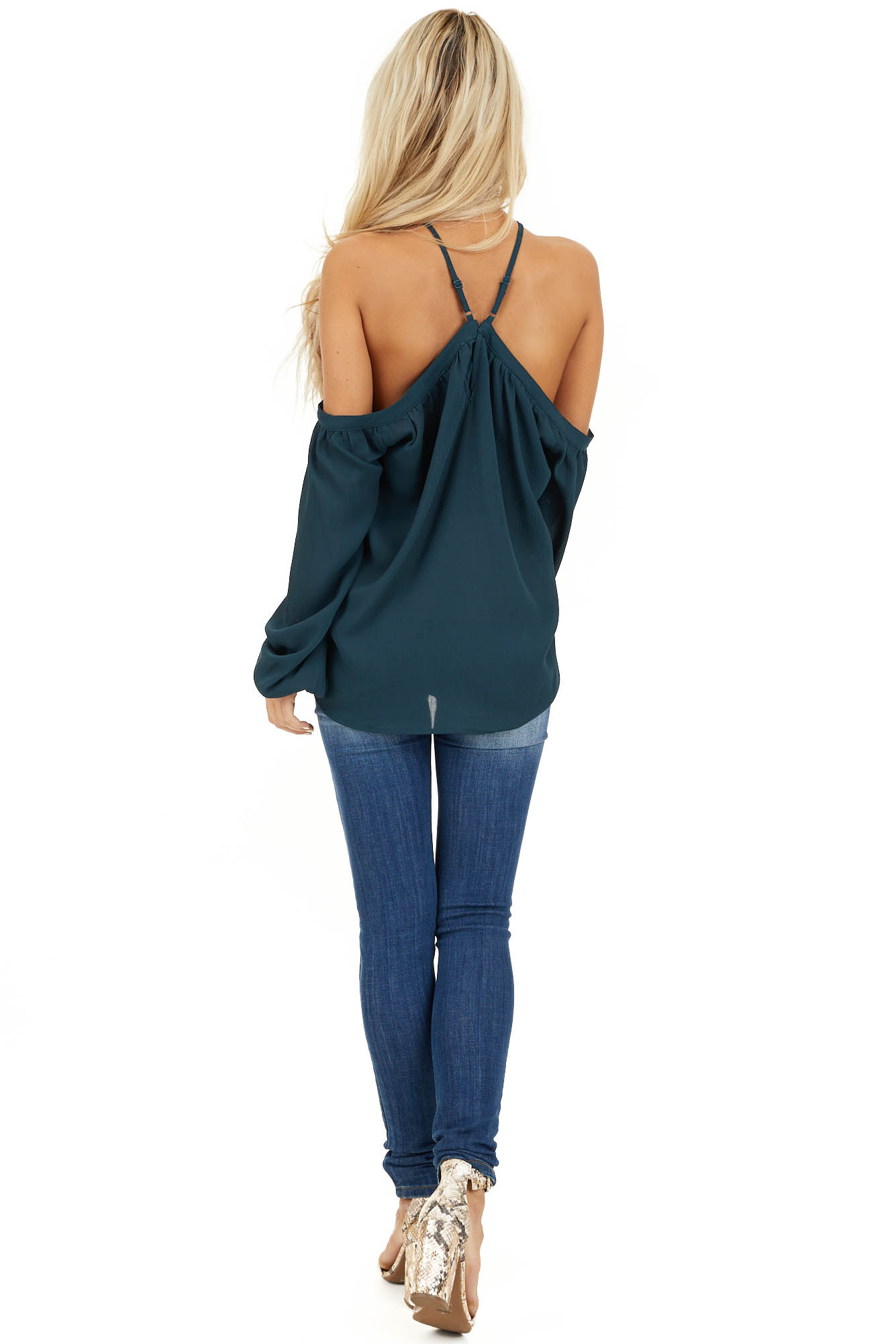 Deep Teal Cold Shoulder Top with Halter Strap Detail back full body