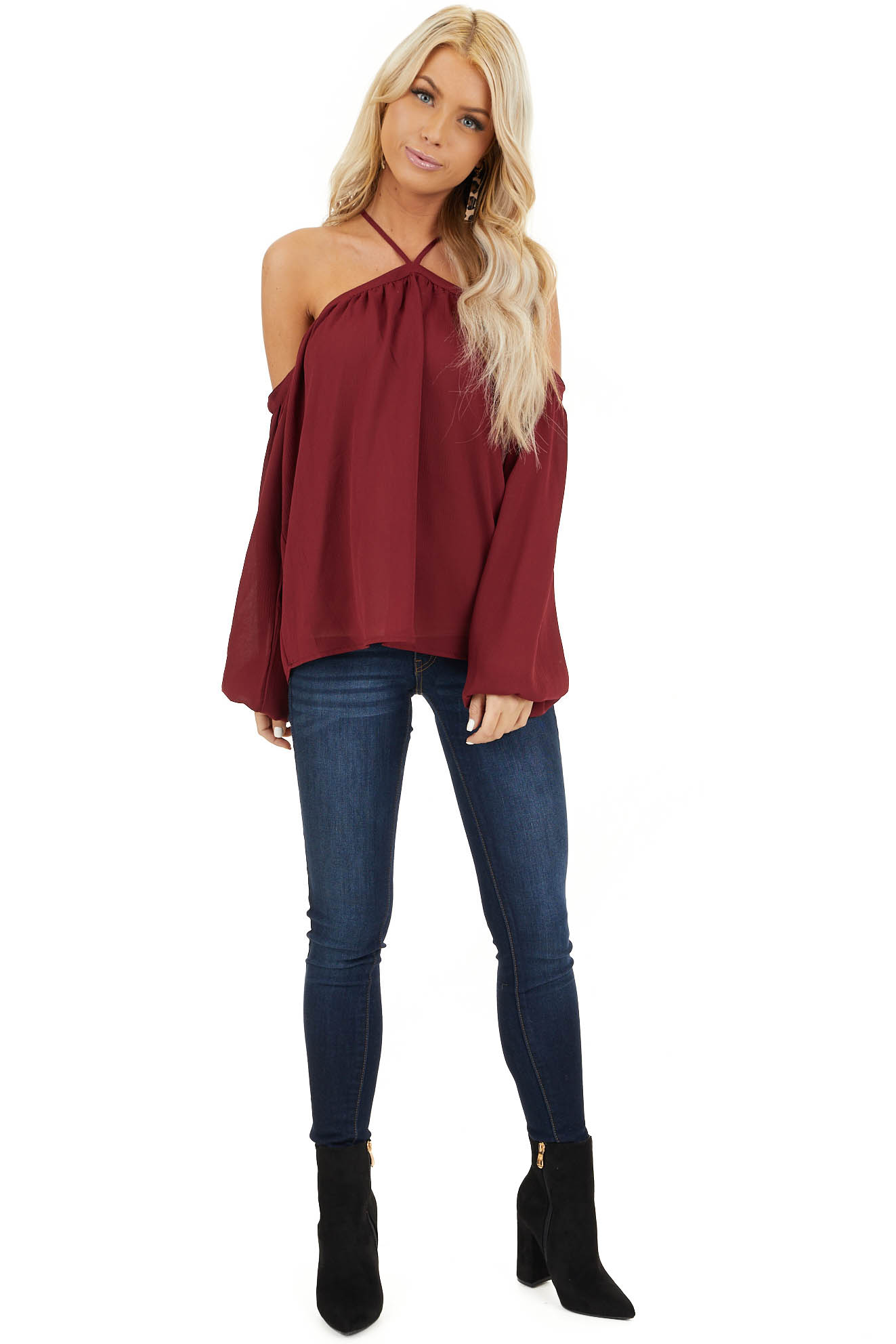 Wine Red Cold Shoulder Top with Halter Strap Detail front full body
