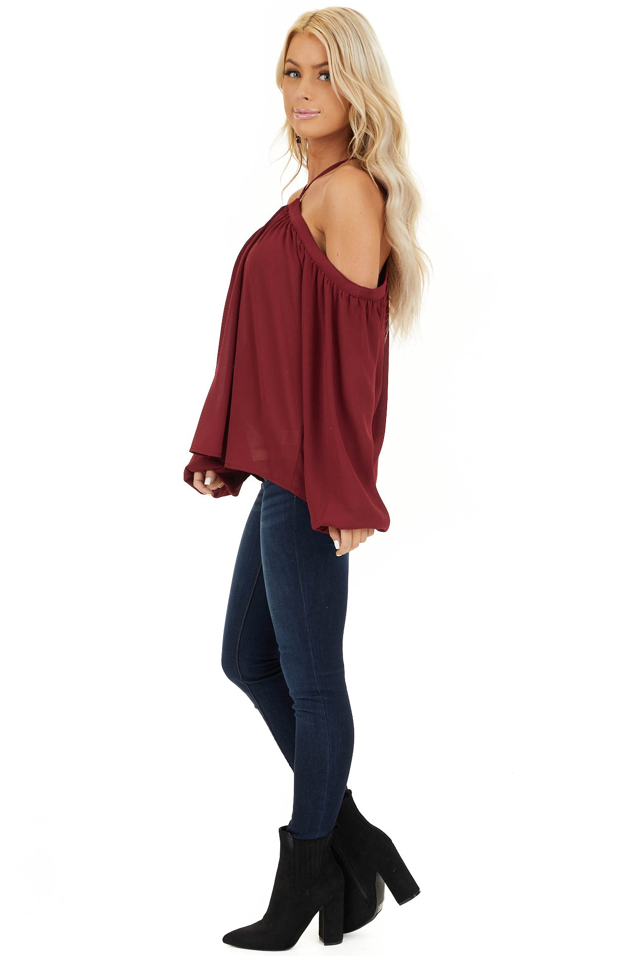 Wine Red Cold Shoulder Top with Halter Strap Detail side full body