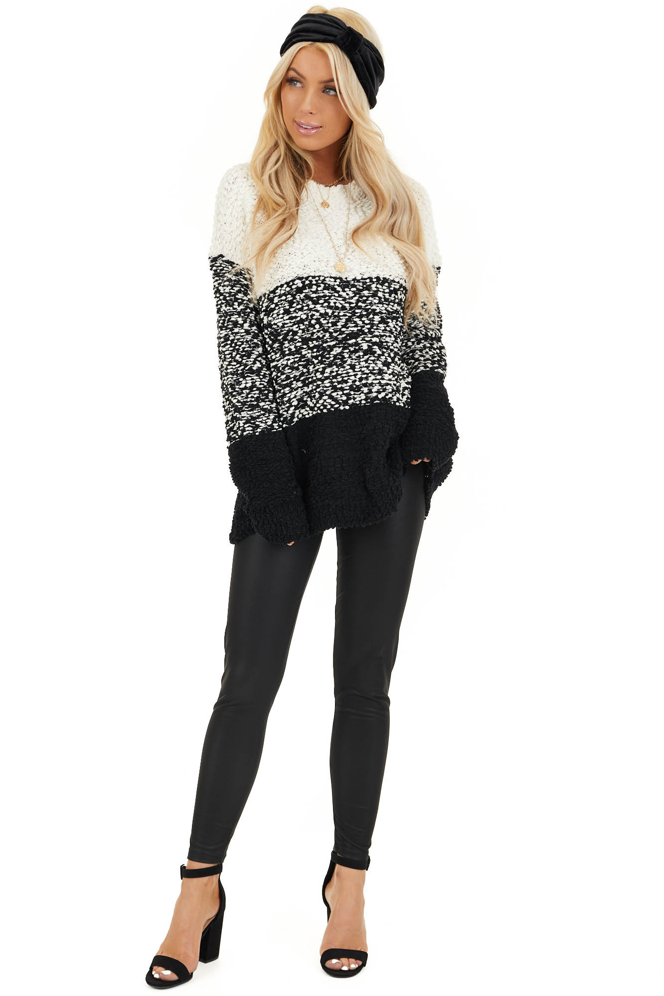 Ivory and Black Popcorn Knit Long Sleeve Crew Neck Sweater front full body