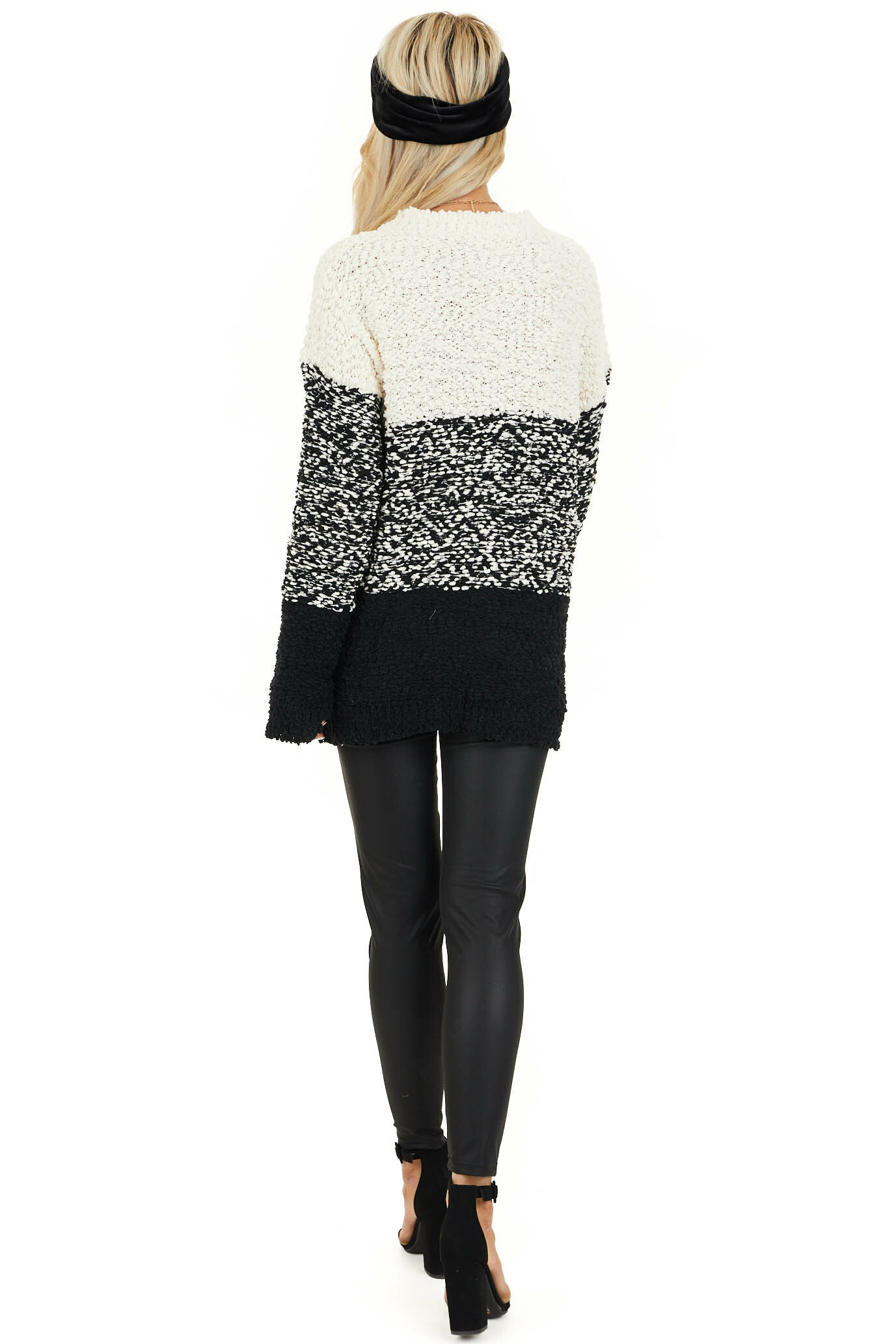 Ivory and Black Popcorn Knit Long Sleeve Crew Neck Sweater back full body