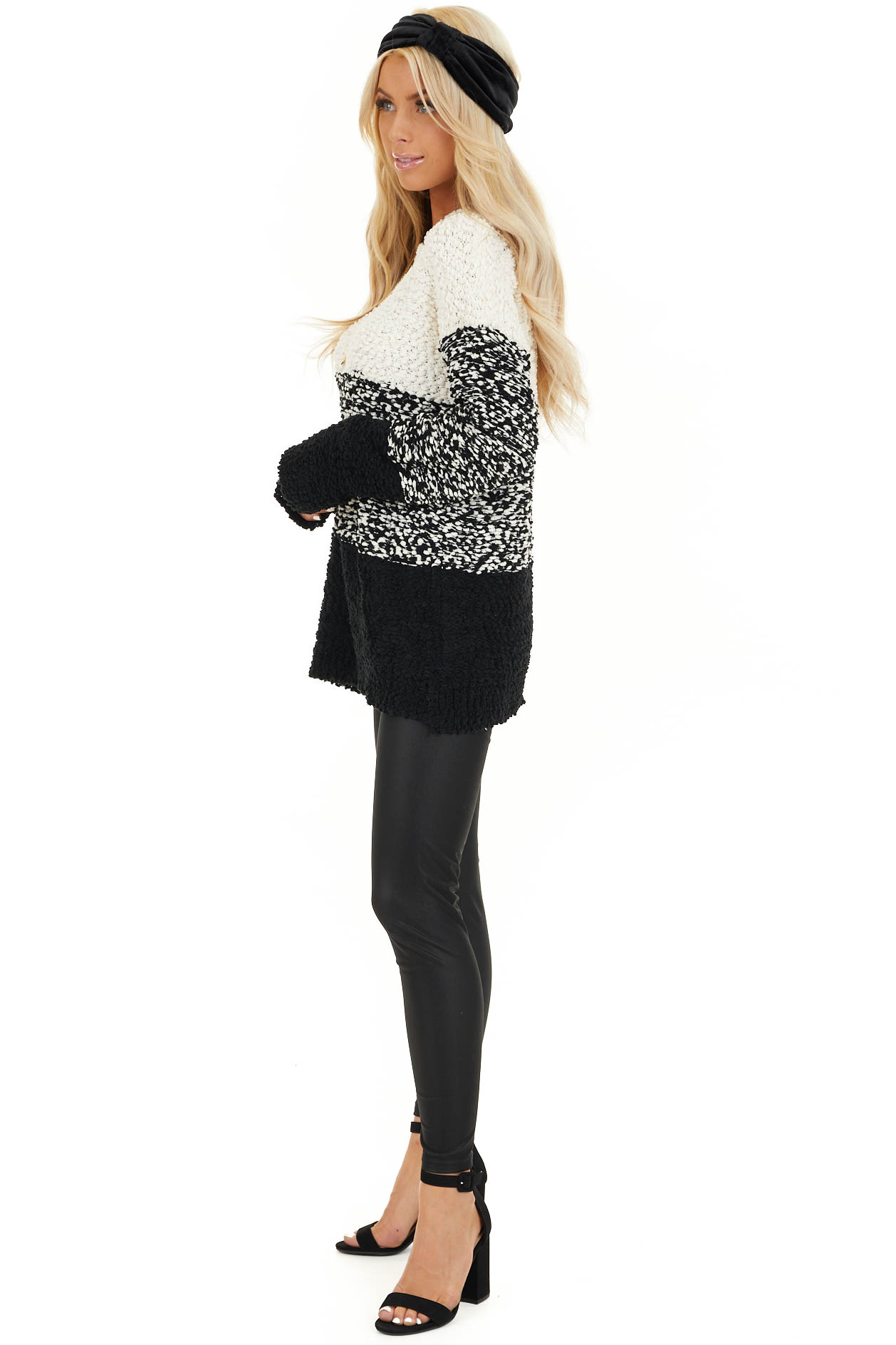 Ivory and Black Popcorn Knit Long Sleeve Crew Neck Sweater side full body