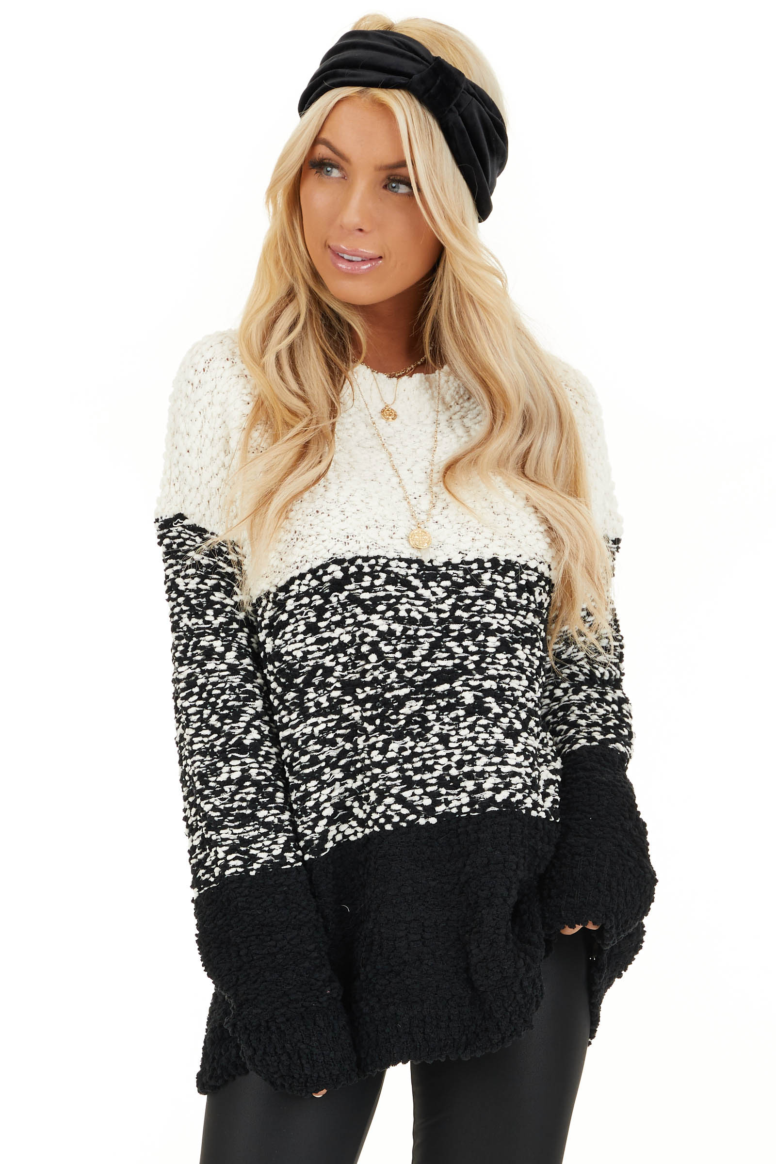 Ivory and Black Popcorn Knit Long Sleeve Crew Neck Sweater front close up