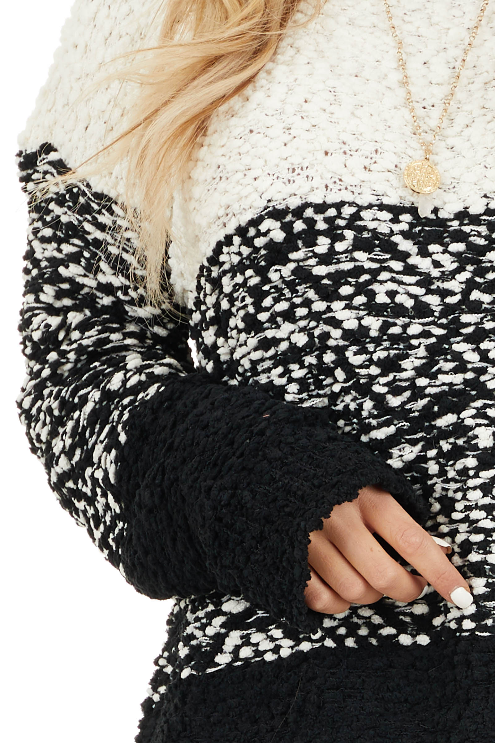 Ivory and Black Popcorn Knit Long Sleeve Crew Neck Sweater detail