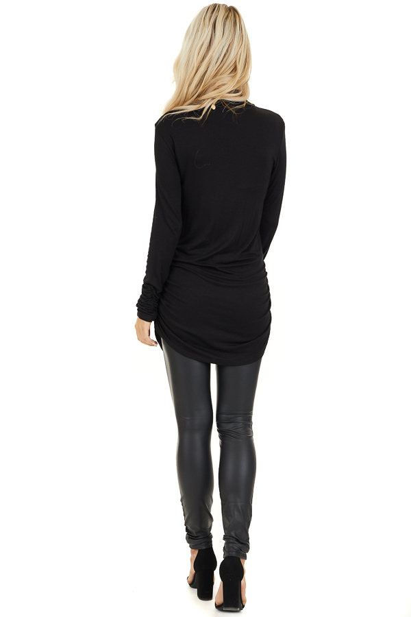 Black Turtleneck Tunic Top with Side Ruching back full body
