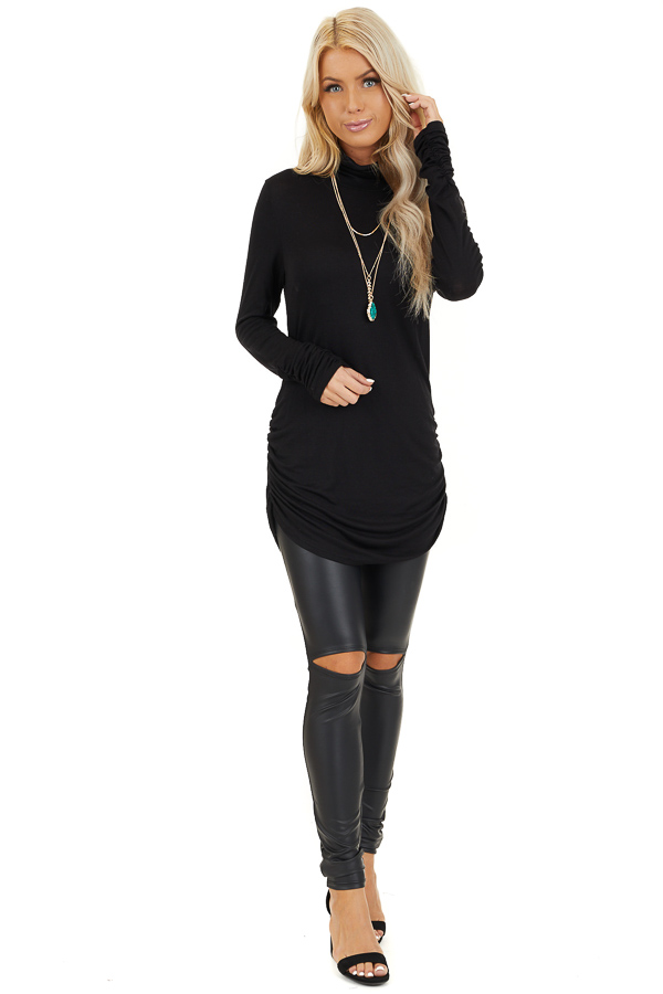 Black Turtleneck Tunic Top with Side Ruching front full body