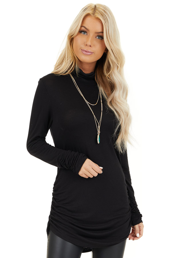 Black Turtleneck Tunic Top with Side Ruching front close up