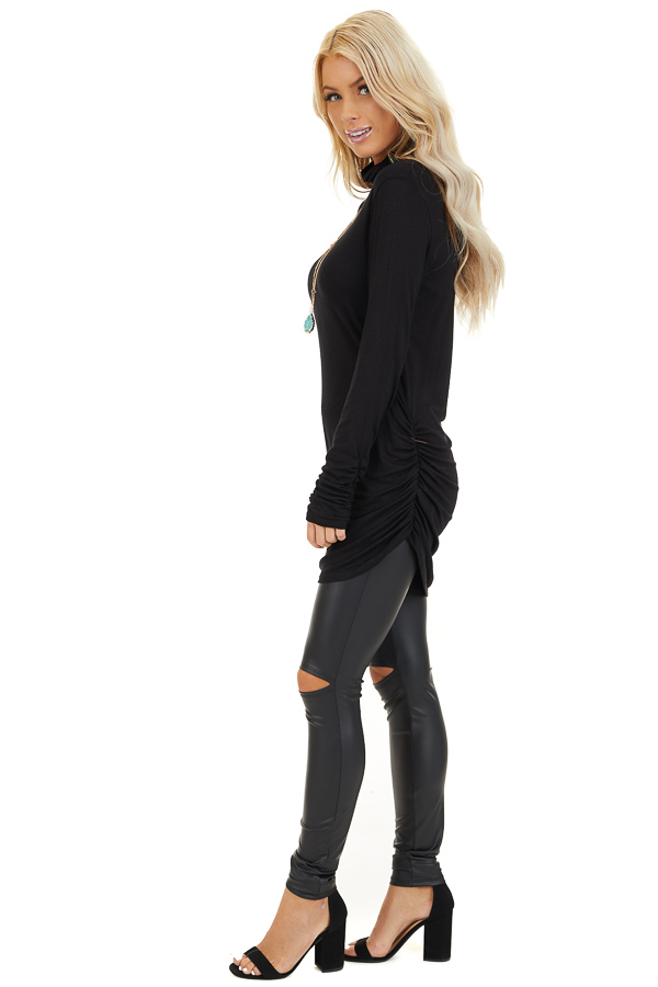 Black Turtleneck Tunic Top with Side Ruching side full body