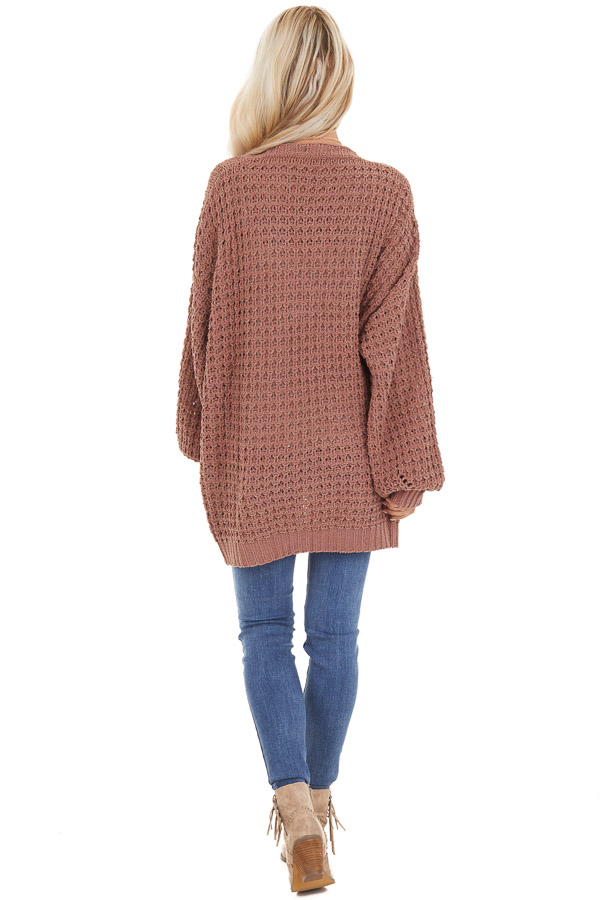 Mocha Cable Knit Chenille Cardigan with Puff Sleeves back full body