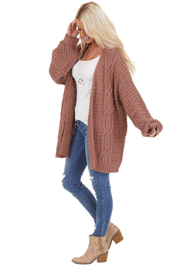 Mocha Cable Knit Chenille Cardigan with Puff Sleeves side full body