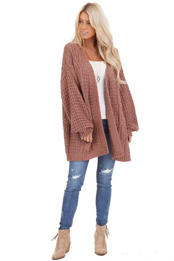Mocha Cable Knit Chenille Cardigan with Puff Sleeves front full body
