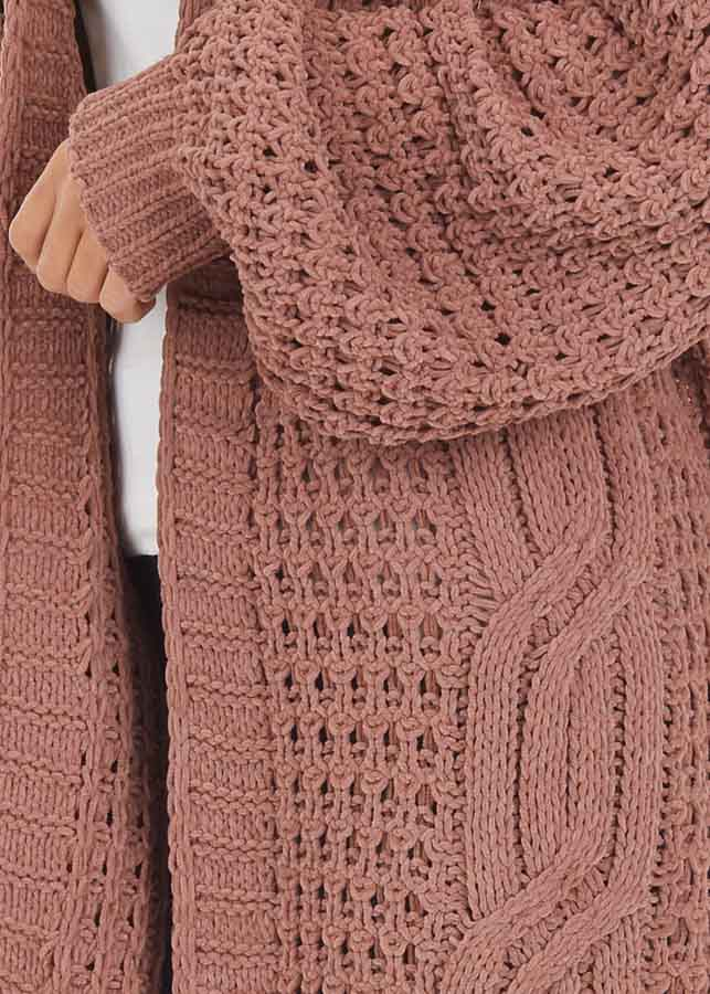 Mocha Cable Knit Chenille Cardigan with Puff Sleeves detail
