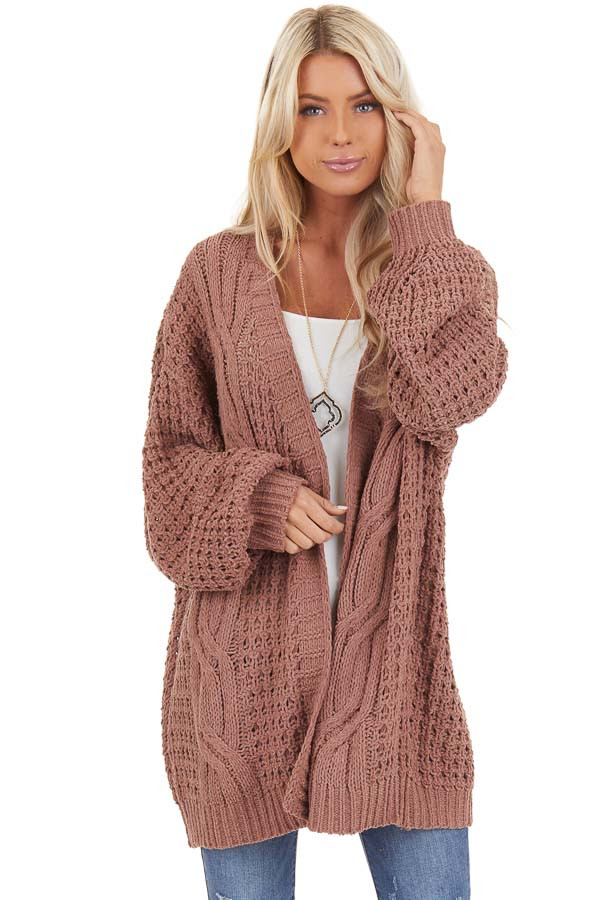 Mocha Cable Knit Chenille Cardigan with Puff Sleeves front close up